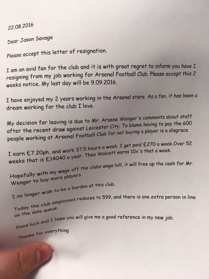 Resignation Letter Employees Job Writing Arsenal