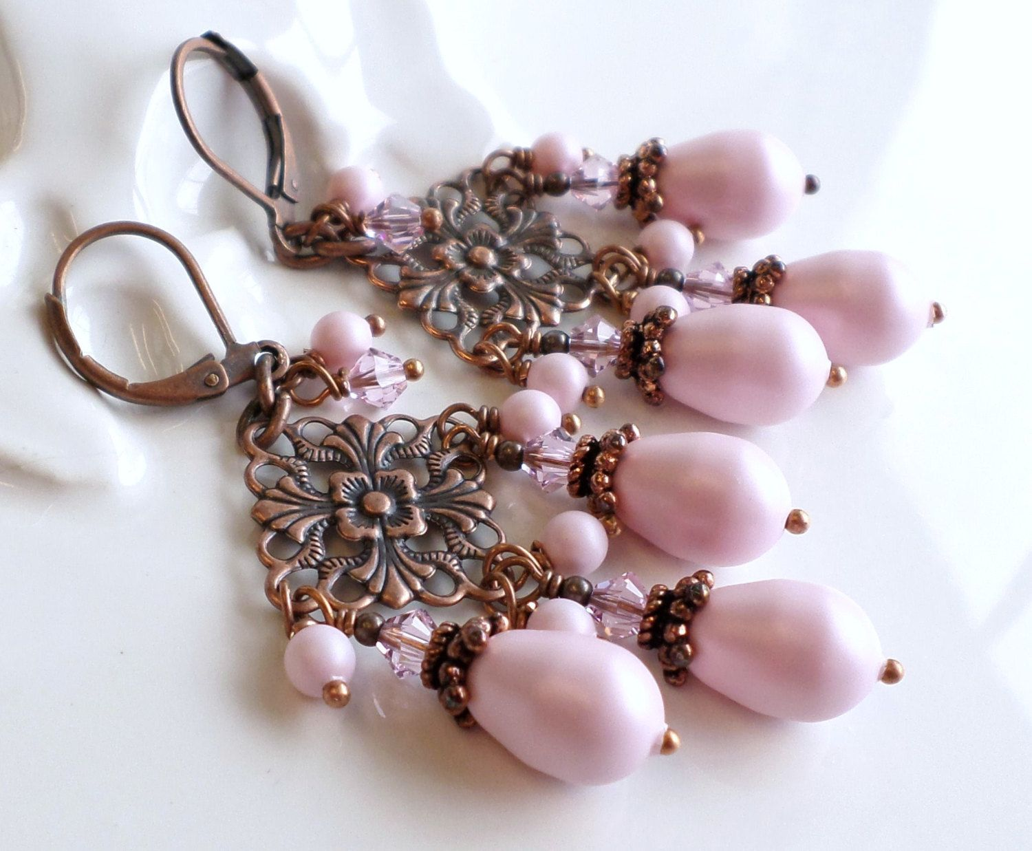 and by swarovski with etsy chandelier crystals hhjewelrydesigns pastel on pink earrings copper pearls pin