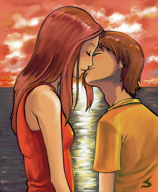 """Lovely Complex: Sunset. by MarieGrey.deviantart.com on @deviantART - and this is supposed to be """"very comical""""? come on, Risa and Otani!"""