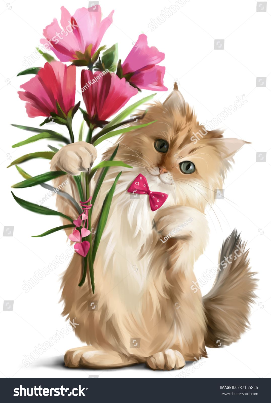 Kitten Gave A Bouquet Of Flowers Watercolor Painting Cat Art Painting Cats Illustration Lion Painting