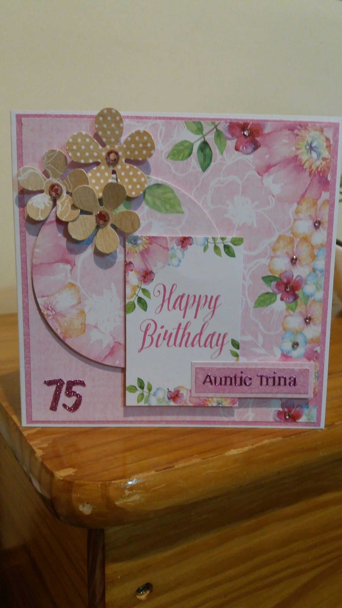75th birthday card made with Craftwork cards floral boutique.
