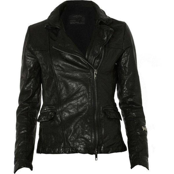 Altamont Leather Jacket ($500) ❤ liked on Polyvore featuring outerwear, jackets, tops, leather jackets, leather, leather jacket, leather motorcycle jacket, rider jacket, biker jacket and slim fit biker jacket