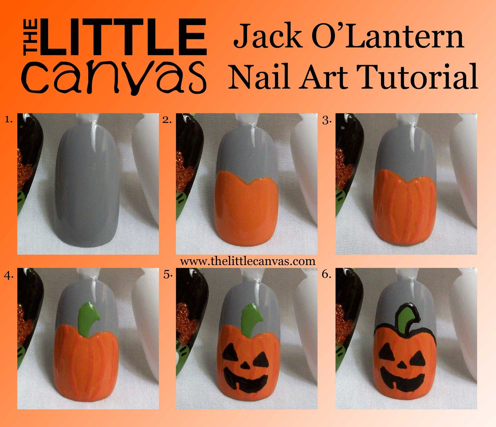 The Little Canvas: Jack O\'Lantern Nail Art Tutorial = Times Two ...