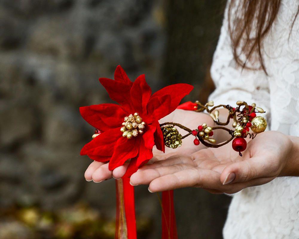 Poinsettia baby headband,holiday baby headband red baby headband,rose headband,rustic headband holiday headband Christmas baby headband
