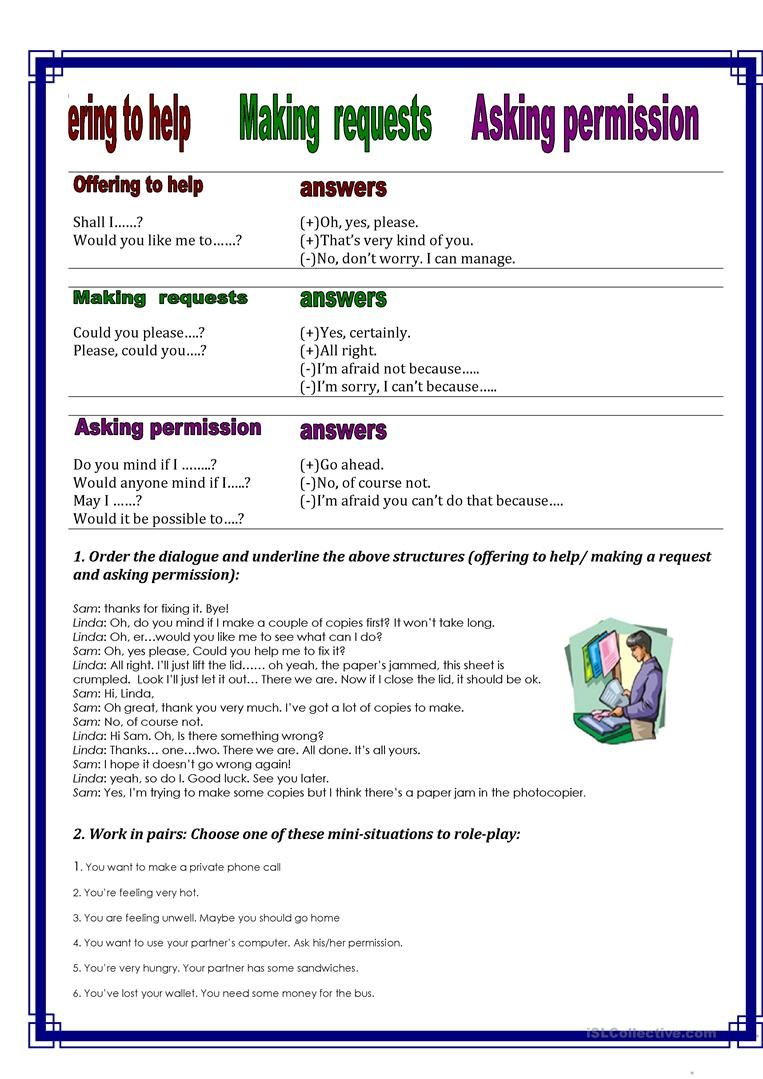 Offering to help making requests and asking permission. worksheet - Free  ESL printable worksheets made by teachers   Pendidikan [ 1079 x 763 Pixel ]