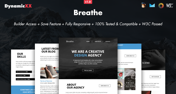 Breathe - Responsive Email + Online Builder | Edit text, Responsive ...