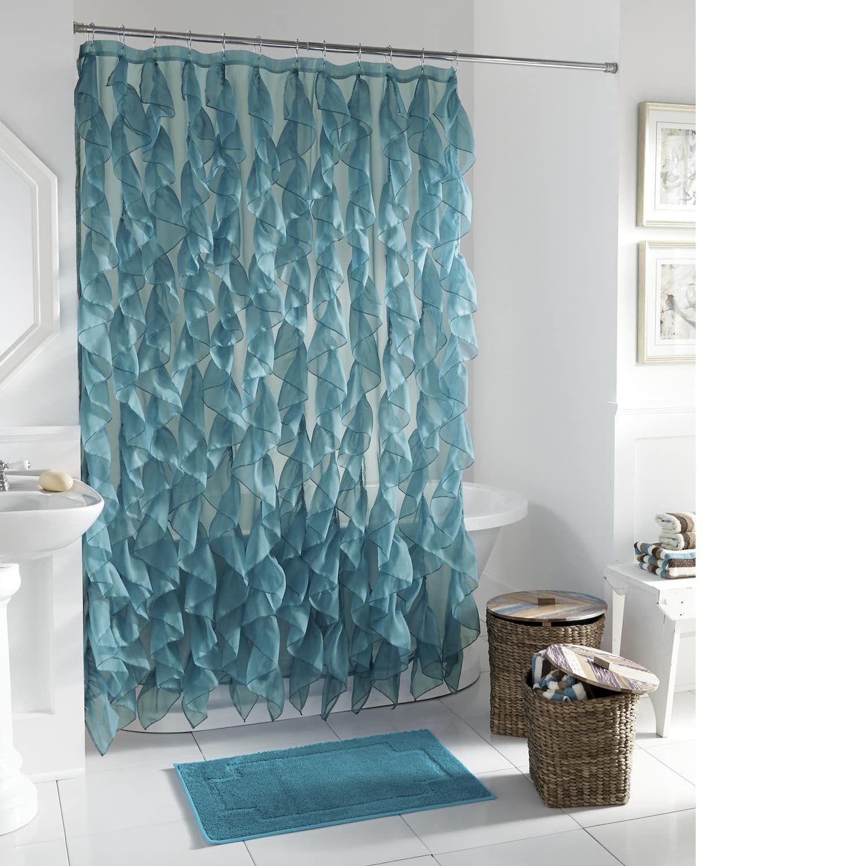 Cascade Shower Curtain Teal Shower Curtains Coastal Shower