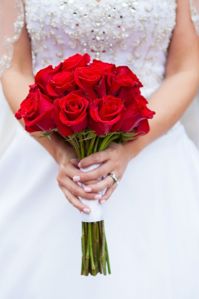 Bright red rose bouquet tied with white ribbon ...