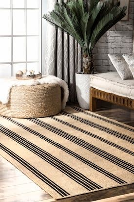 Fawna Braided Striped Jute Natural Rug