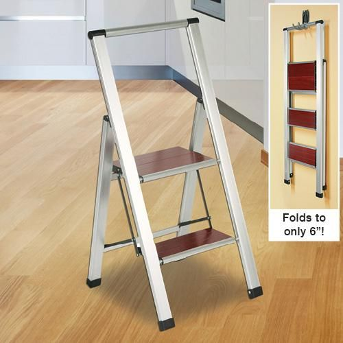 BRUSHED ALUMINUM WITH WOOD 2 STEP LADDER   Get Organized