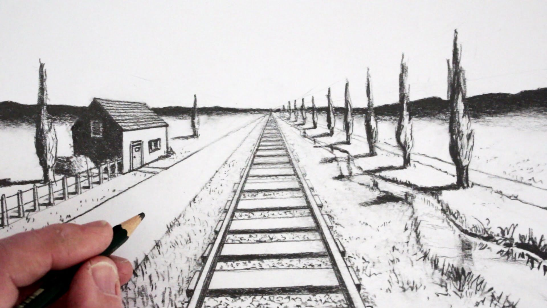 How To Draw Using 1 Point Perspective Landscape Sketch 1 Point Perspective Perspective Drawing