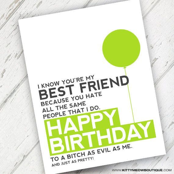 Lime Green Funny Best Friend Birthday Card By KittyMeowBoutique, $3.00  Printable Best Friend Birthday Cards
