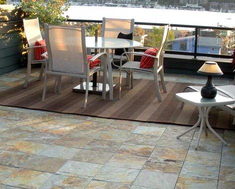 Interlocking Slate Porcelain Tiles Outdoor Flooring Outdoor