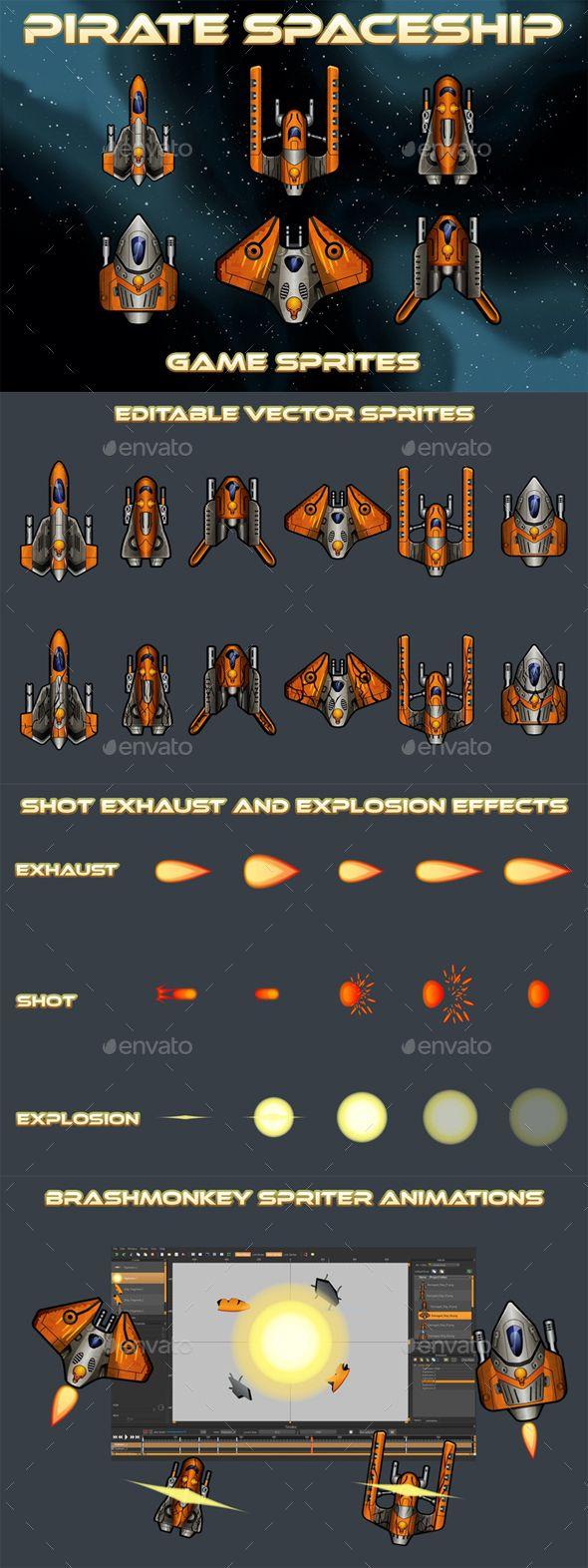 Pirate Spaceship 2D Sprites Sprites Game Assets Download