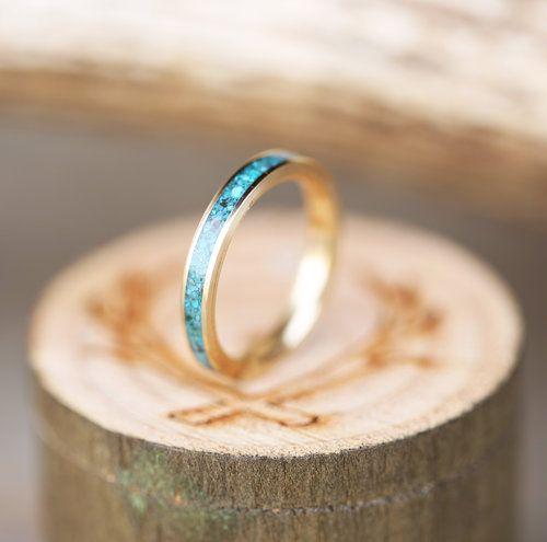 Women S Yellow Gold Turquoise Stacking Band Wedding Ring