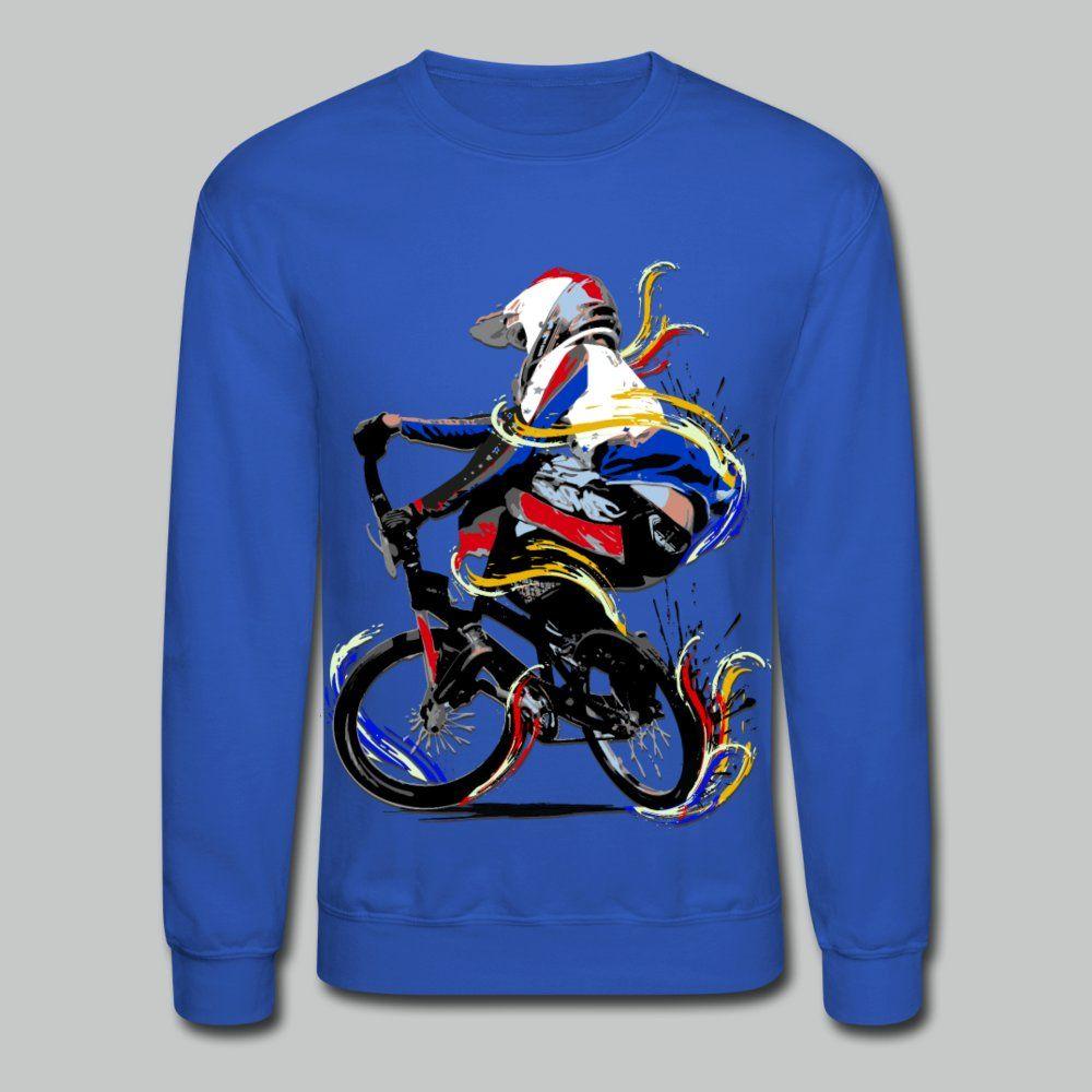 Bmx Racing Unisex Crewneck Sweatshirt Royal Blue In 2021 Bmx Shirts Sweatshirts Crew Neck Sweatshirt [ 1000 x 1000 Pixel ]