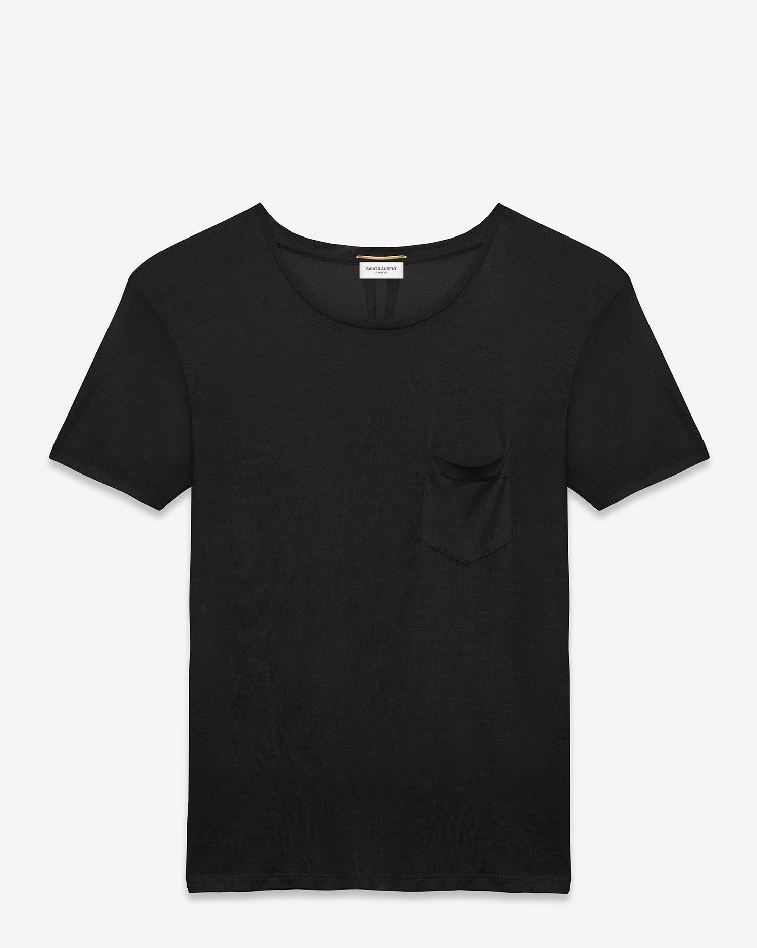 942b151562 Saint Laurent classic short sleeve pocket t shirt in black washed silk  jersey