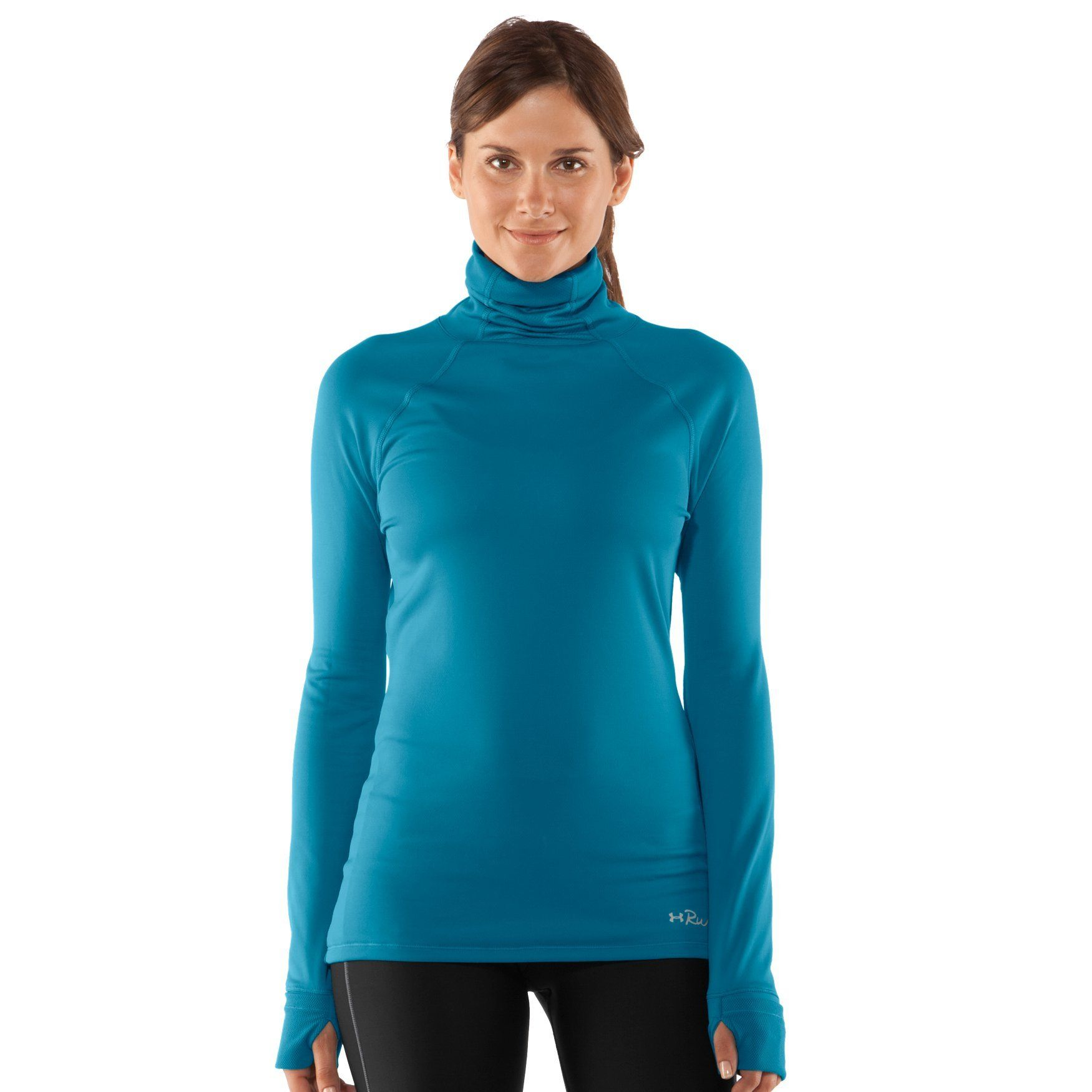 Womens under armour ua flyby t neck pacific blue m turtle neck