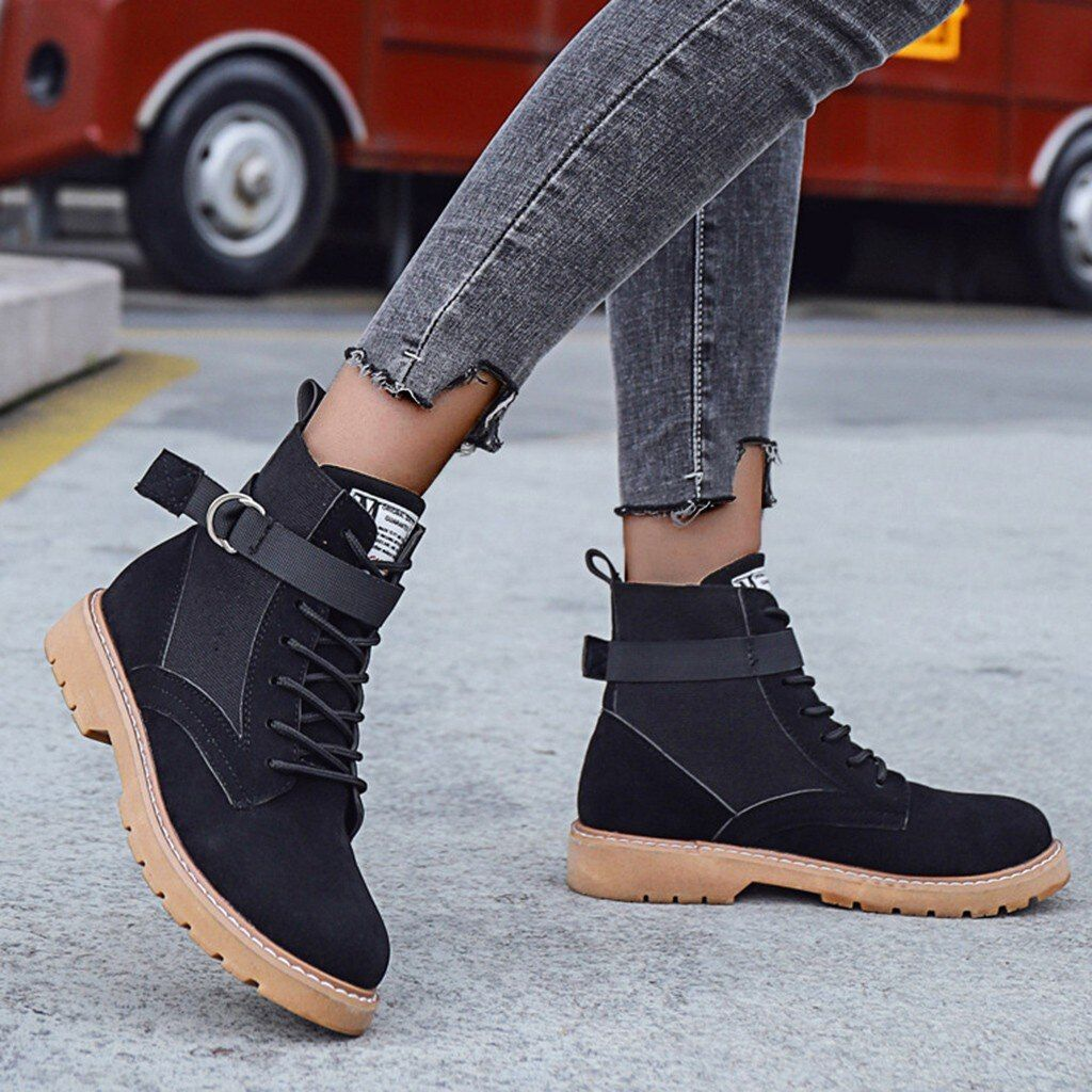 ASUMER 2018 fashion ankle boots for women round toe buckle