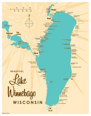 Lake Winnebago Wi Map 11x17 Print Professional Grade Digital Print