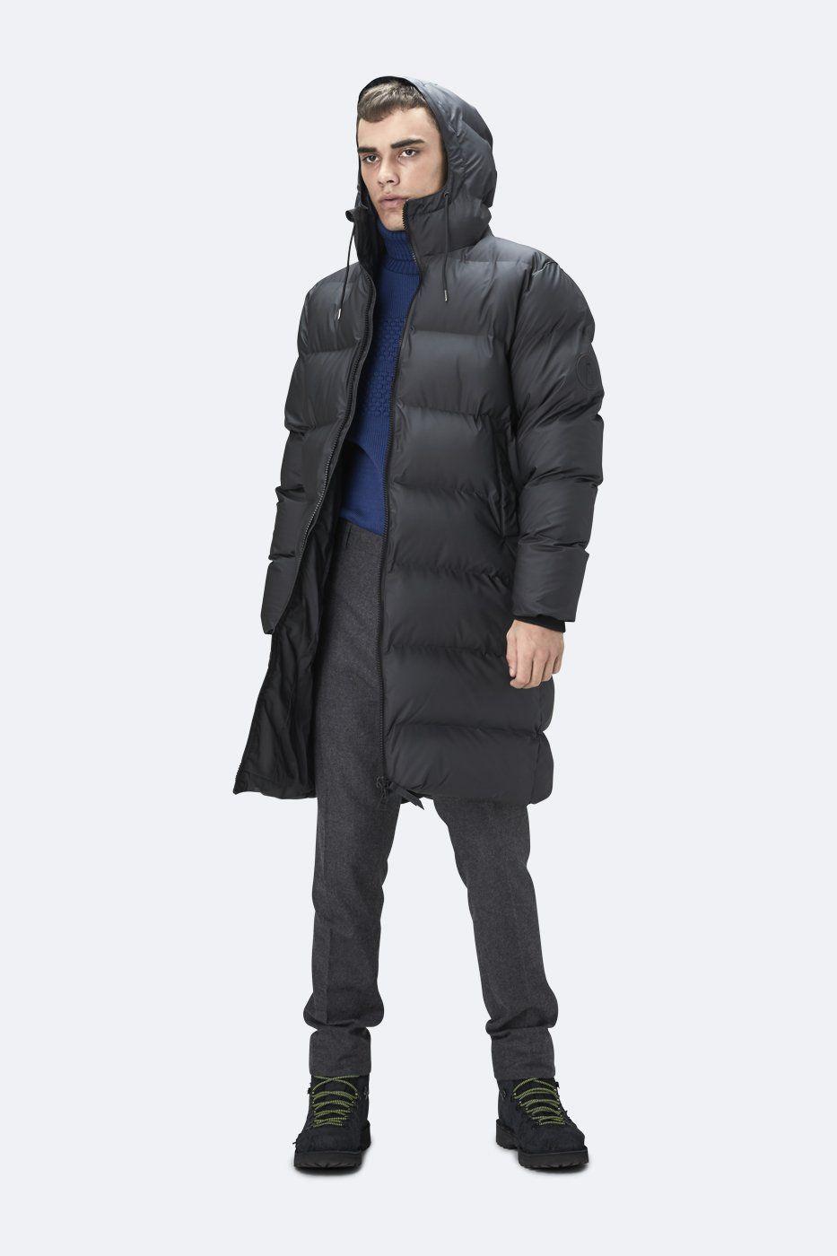 Rains Rains Men S Long Puffer Jacket Rains Cloth Long Puffer Jacket Long Puffer Puffer Jacket Black [ 1400 x 933 Pixel ]