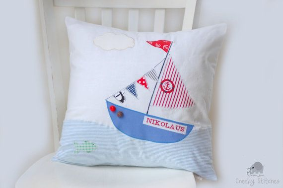 sailing boat pillow personalized pillow for boys kid 39 s. Black Bedroom Furniture Sets. Home Design Ideas