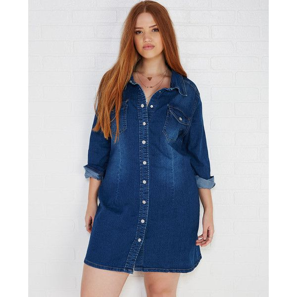 doll house denim shirt dress in dark wash ($37) ❤ liked on