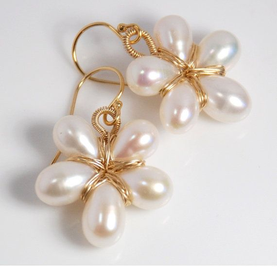 14K gold filled pearl earrings flower earrings by JWjewelrybox, $42.00
