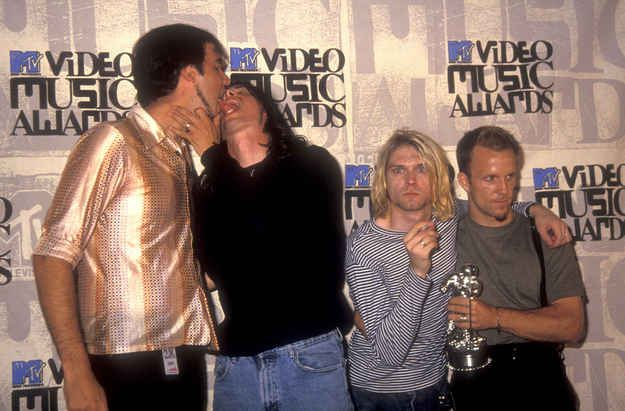 Krist Novoselic and Dave Grohl celebrated their win backstage.