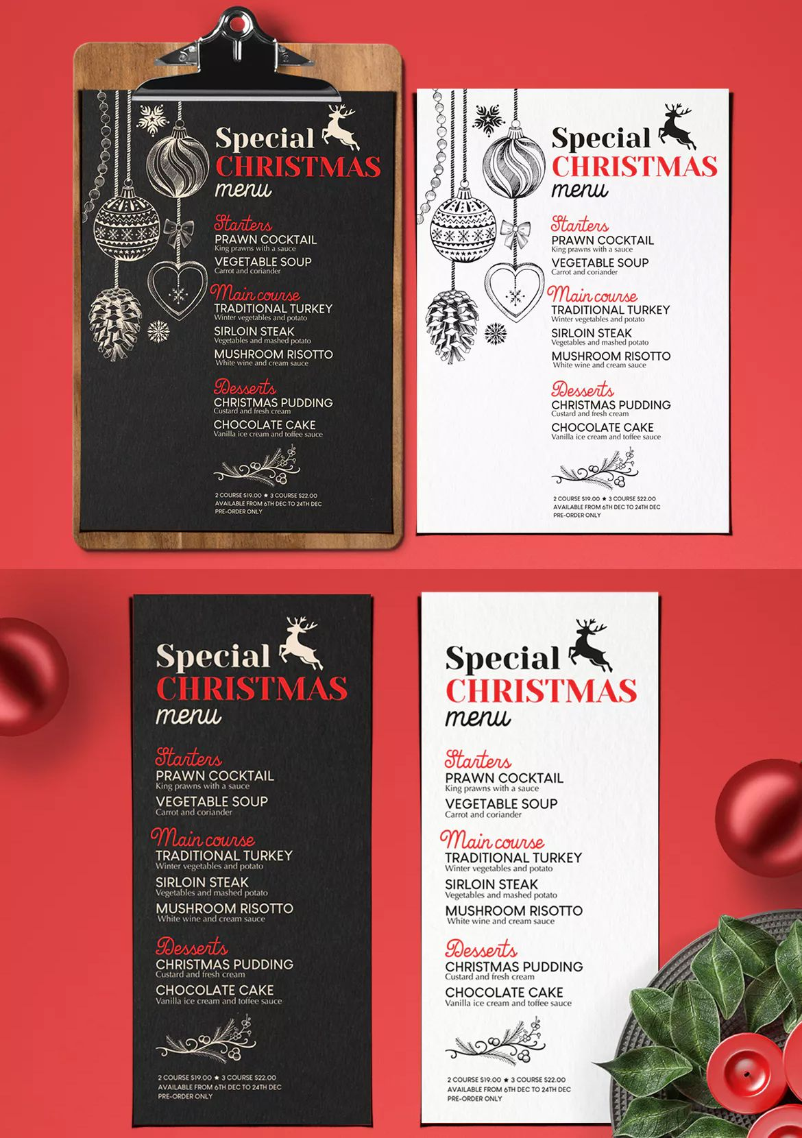 Christmas Restaurant Menu By Barcelonadesignshop On Envato Elements Restaurant Menu Template Menu Restaurant Food Menu Template
