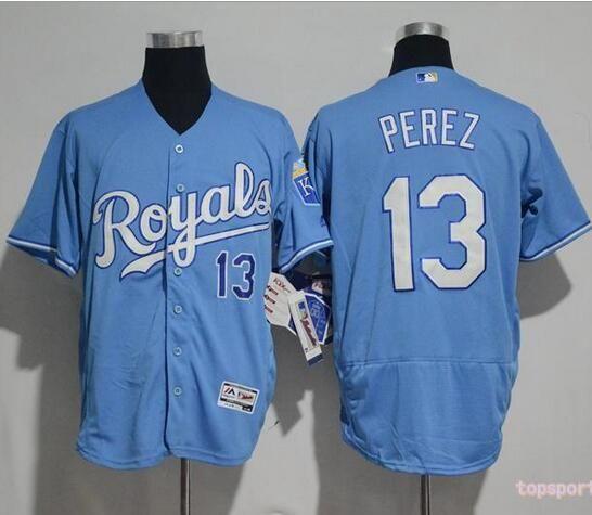 best service 9654c 4f4c7 MLB Kansas City Royals 13 Salvador Perez Blue Flexbase ...