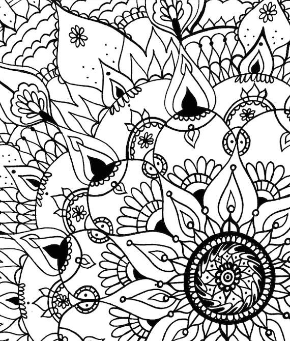 Ornate Mandala Coloring Page INSTANT DOWNLOAD Hand Illustrated By Hailey Glass A From Her