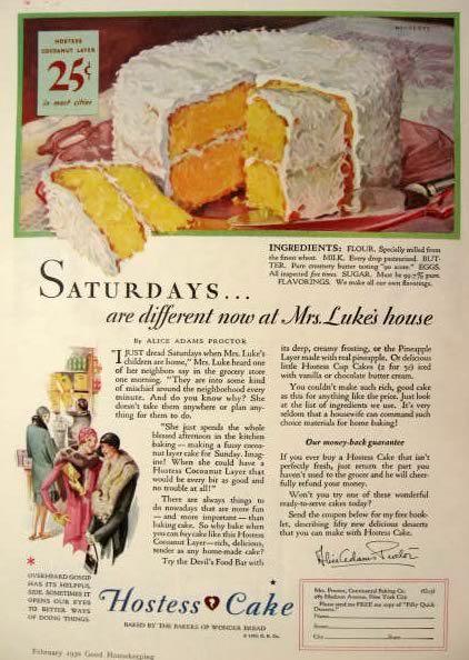 hostess cake 1930