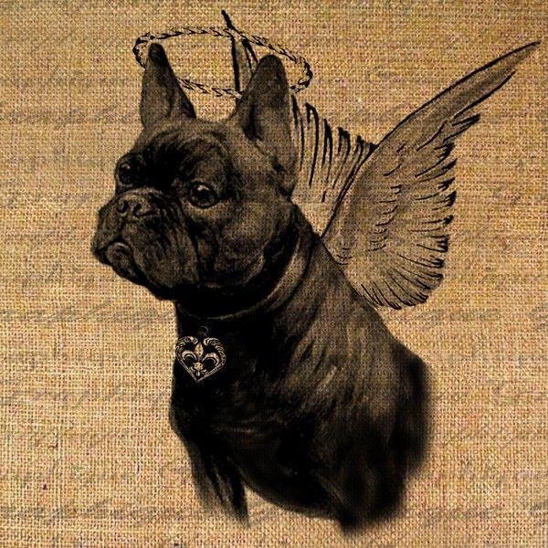 French Bulldog Guardian Angel Dog Puppy Digital Image Download