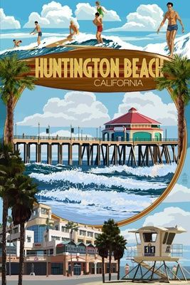 Cute Vintage Style Travel Poster For Huntington Beach
