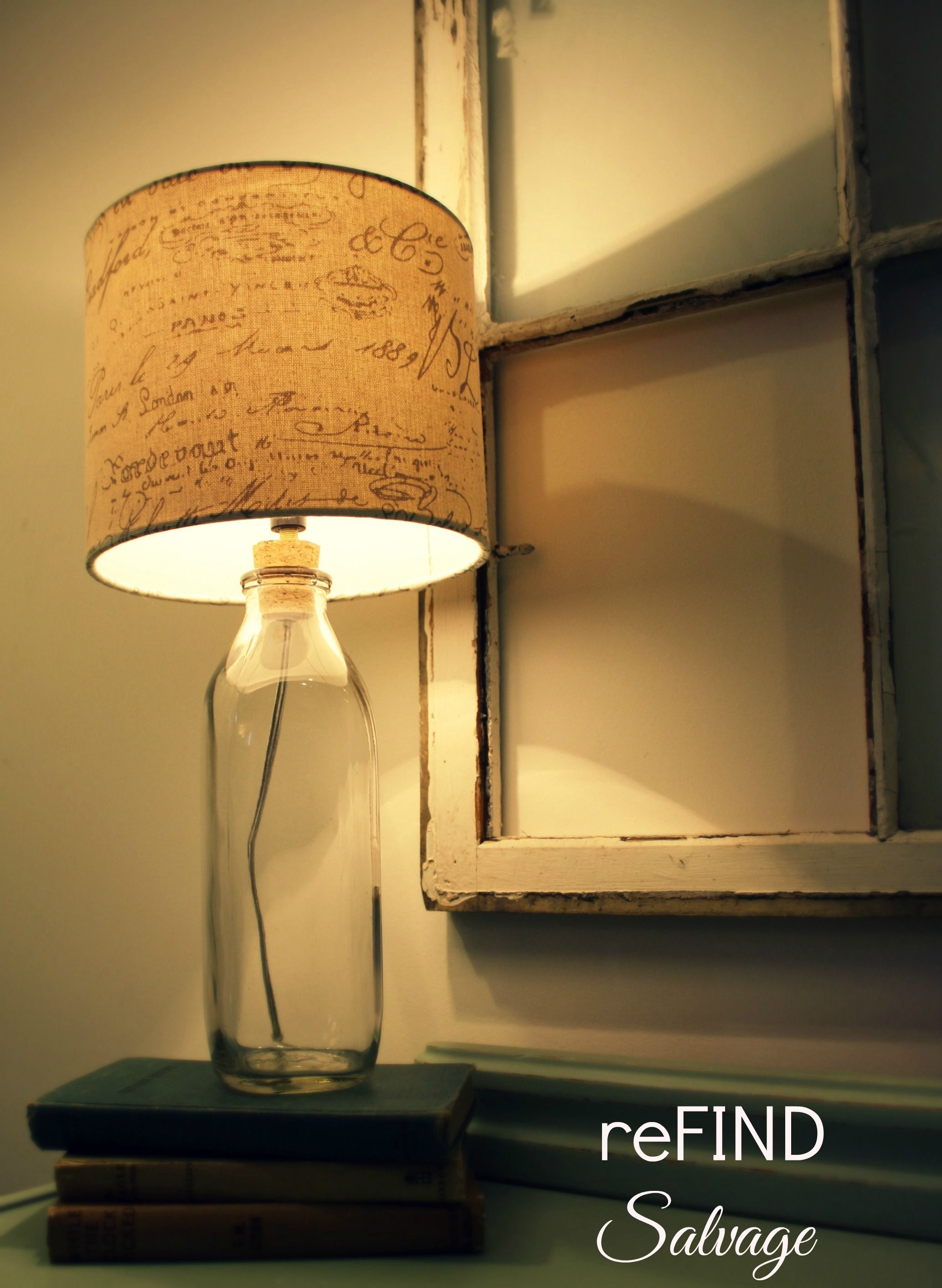 Upcycled Vintage Milk Bottle Table Lamp With Romantic Linen French Script Lampshade With Images Vintage Milk Bottles Bottle Lamp Milk Bottle Diy