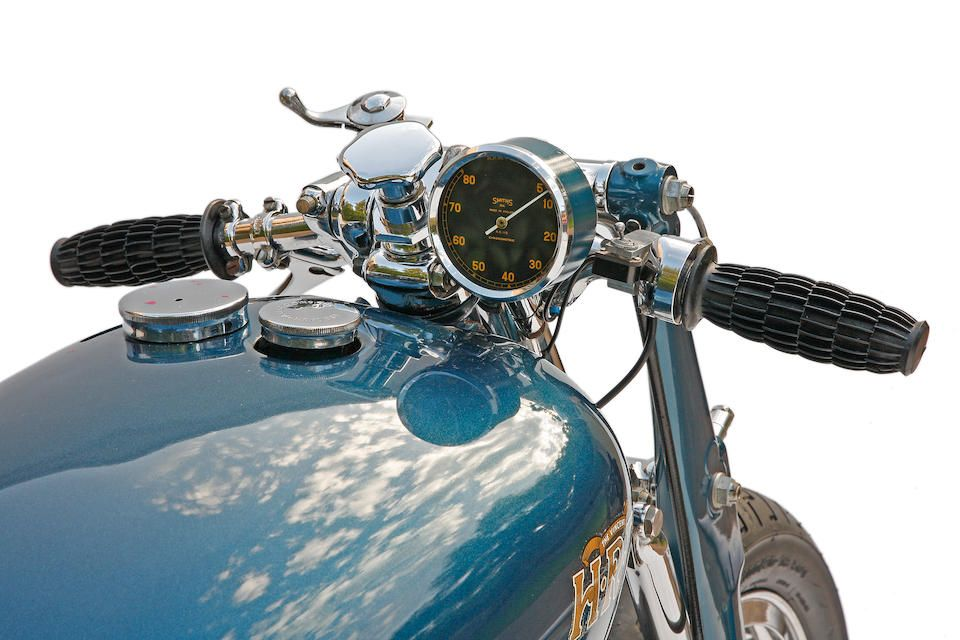 Marty Dickerson's Vincent Rapide racer, known as  The Blue Bike – iconic Bonneville Record Breaker ,1948 Vincent 1000cc Rapide Series B Engine no. F10AB/1/301