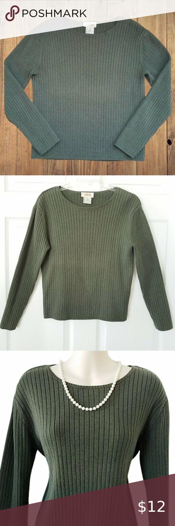 Talbots Petites Green Crew Neck Cotton Sweater in 2020