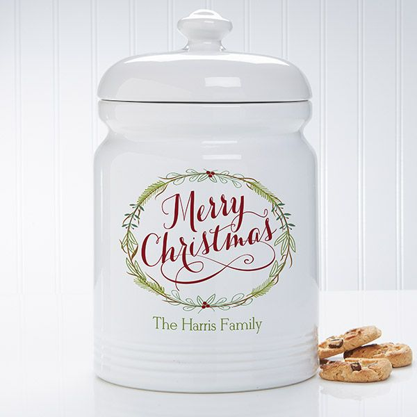 Happy Holidays Personalized Cookie Jar Christmas Cookie Jars Personalized Cookies Cookie Jars