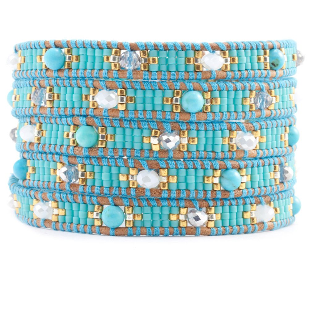 Chan Luu - Turquoise Mix and Crystal Wrap Bracelet on Beige Leather, $180.00 (http://www.chanluu.com/wrap-bracelets/turquoise-mix-and-crystal-wrap-bracelet-on-beige-leather/)