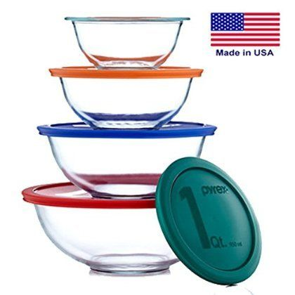 4 X Pyrex Smart Essentials 8 Piece Mixing Bowl Set *** Check out this great image @ : Baking mixing bowls