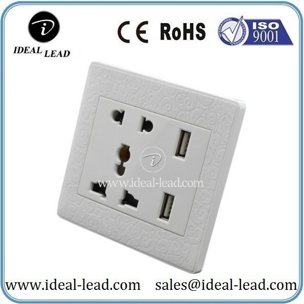 Dongguan oem factory outlet 5 pin socket with usb 2.1a