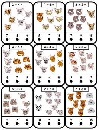 free printable adding cats addition kindergarten math game | School ...