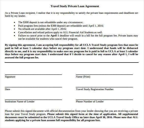 Travel Study Private Loan Agreement Contract , 26+ Great Loan - cash loan agreement sample