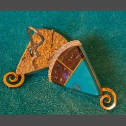 Turquoise Gold Earrings Native American Southwest Jewelry by Duane