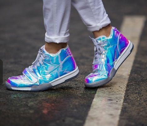 Nike sneakers in hologram/shiny blue