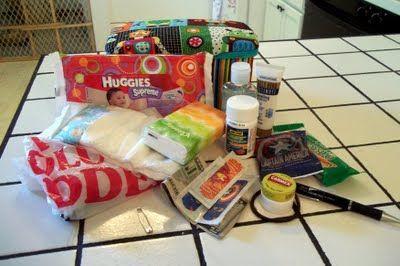 Emergency car kit made from shoebox or empty wipes box.  Lotion, hand sanitizer, kleenex, money, snacks, plastic bag for garbage, etc