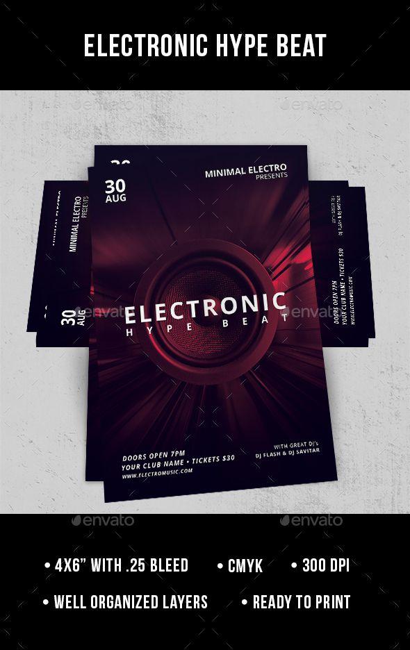 Electronic Hype Beat Flyer Music Flyer Deep House Music Deep House