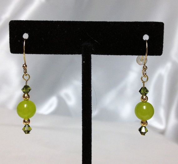 Peridot earrings  Peridot and olivine crystal by UniquelyArdath, $19.99