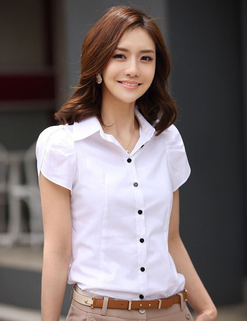 Hot Sales Blusas 2015 New Women's Fashion Office Shirt Lapel Puff ...